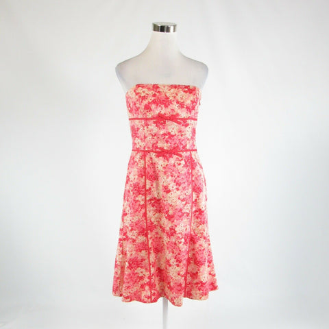 Pink red abstract 100% cotton ANN TAYLOR sleeveless A-line dress 6
