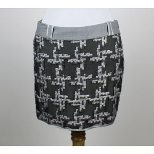 ADAM LIPPES ADAM PLUS EVE multi gray embroidered 100% silk above knee skirt S-Newish