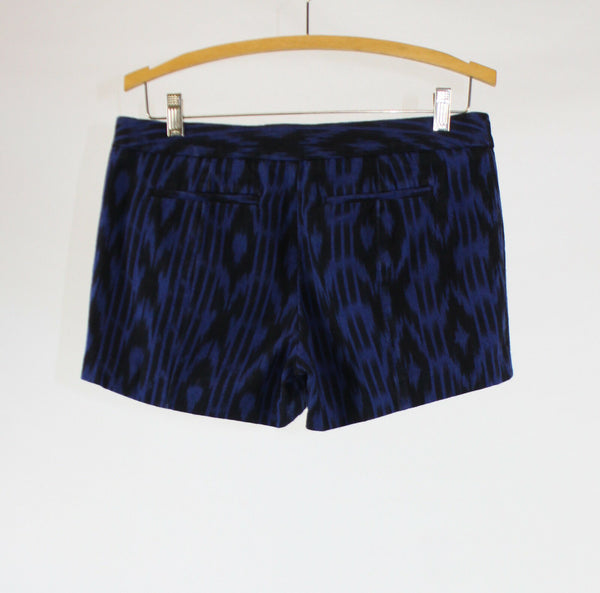 Blue black geometric 100% cotton GAP flat front mini dress shorts 4