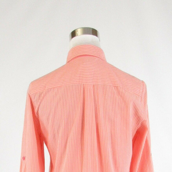 Salmon pink pinstripe 100% cotton LACOSTE 3/4 sleeve button down blouse FR36 6-Newish