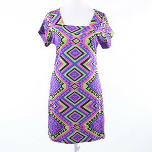 Purple pink geometric cotton blend TRACY NEGOSHIAN short sleeve sheath dress S