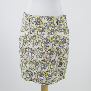 Gray blue & green print 100% cotton ANN TAYLOR LOFT straight above knee skirt 2-Newish
