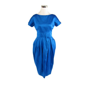 Bright blue 100% silk GAY GIBSON short sleeve vintage sheath dress XS