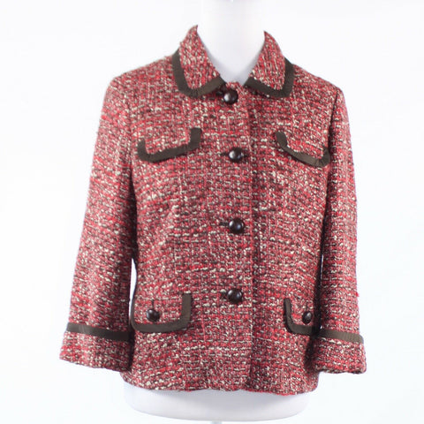 Light red brown plaid tweed TALBOTS 3/4 sleeve jacket 8