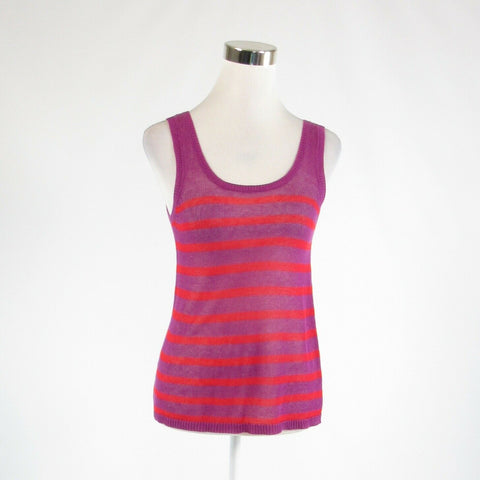Purple red striped linen blend ANN TAYLOR LOFT sleeveless vest sweater XPS