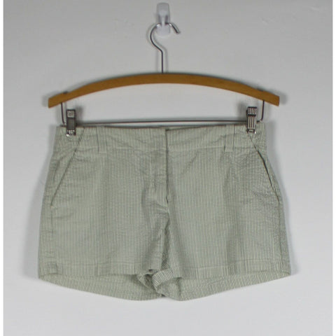 J. CREW white & green striped seersucker cotton blend low fit mini shorts 0-Newish