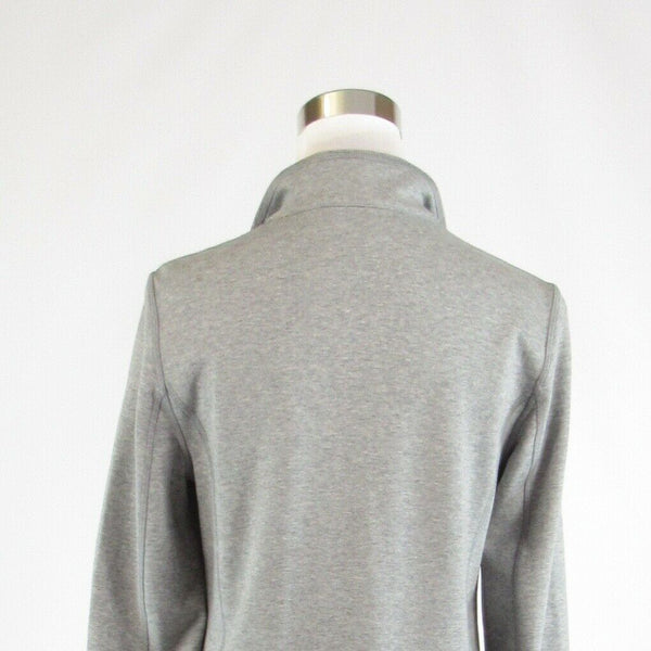 Heather gray beige cotton blend WORTH stretch long sleeve peacoat P