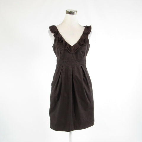 Brown 100% cotton ANTHROPOLOGIE MOULINETTE SOEURS empire waist dress 8-Newish