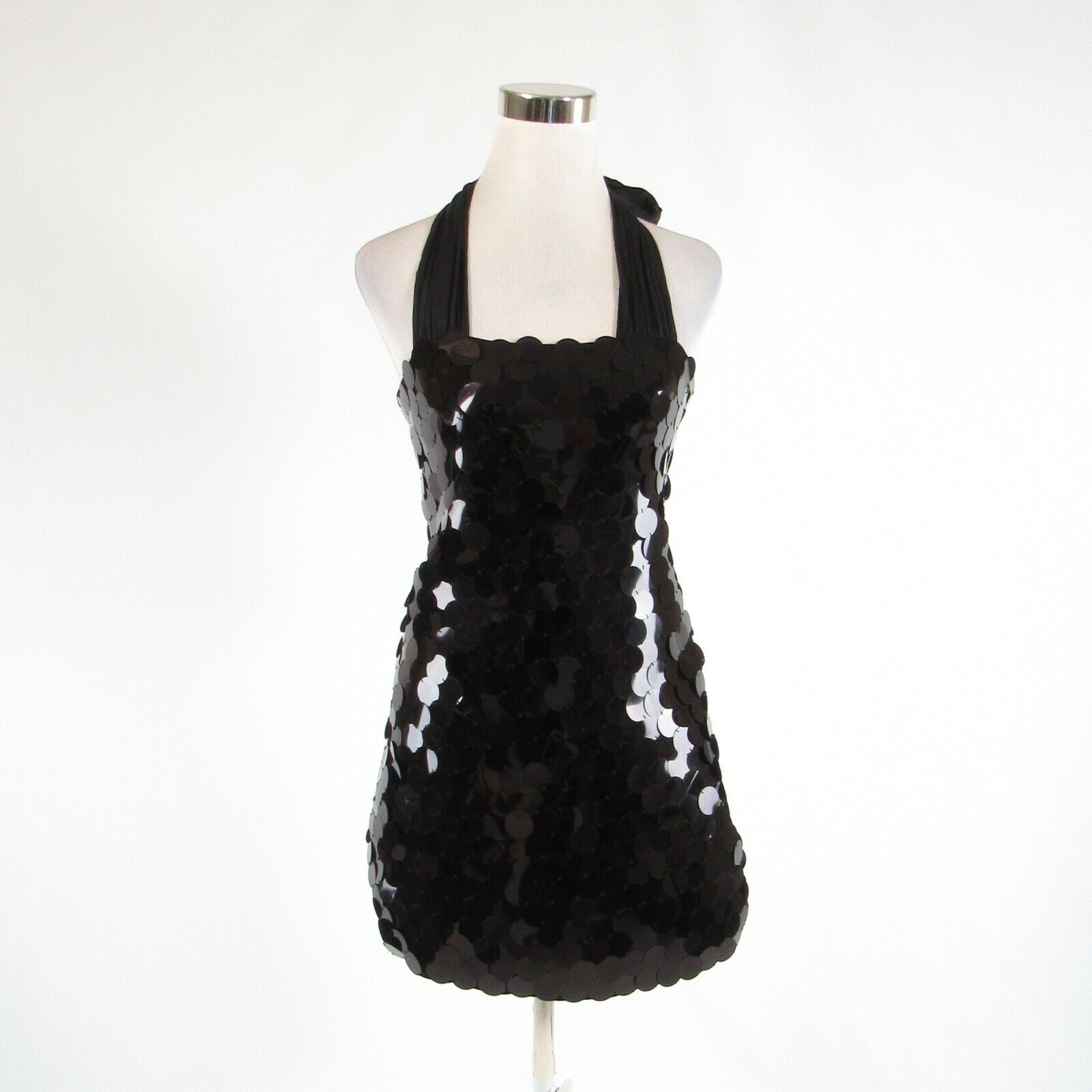 Black ALICE and OLIVIA sequin stretch halter neck sheath dress XS-Newish