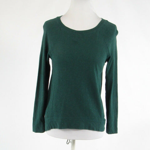 Teal green 100% cotton ANN TAYLOR LOFT stretch 3/4 sleeve knit blouse XXS-Newish
