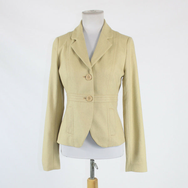 Light beige rayon FOSSIL 3/4 sleeve collared blazer jacket S