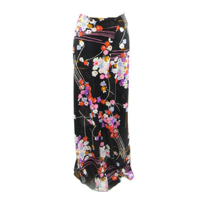 Black pink floral COLE OF CALIFORNIA Lord and Taylor vintage maxi skirt M S-Newish