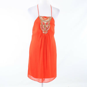 Orange gold 100% silk ANTHROPOLOGIE TRINA TURK halter neck sun dress 0