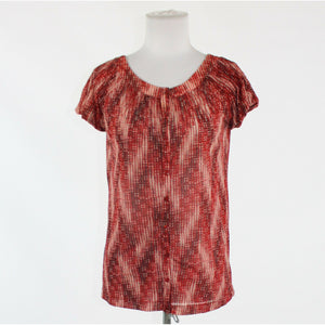 Red white black seersucker THE LIMITED cap sleeve scoop neck semi-sheer blouse S