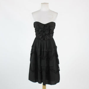 Black 100% silk JILL STUART tiered strapless above knee ruffled trim dress 12-Newish