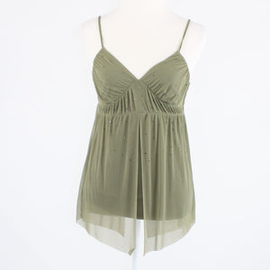 Olive green mesh stretch EXPRESS spaghetti strap tank top blouse S