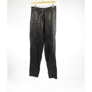 Black 100% leather T. EDWARDS straight leg pants 10