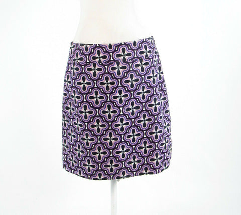 Periwinkle purple black floral print 100% cotton ANN TAYLOR pencil skirt 8