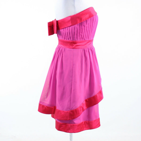Bright pink red color block PHOEBE COUTURE strapless tiered dress 4-Newish