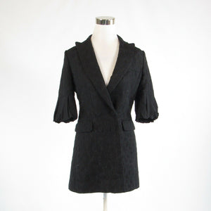 Black geometric BCBG MAX AZRIA double breasted 1/2 sleeve peacoat S