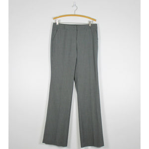 NEW YORK & COMPANY gray & light blue striped flat front flare dress pants 6T-Newish