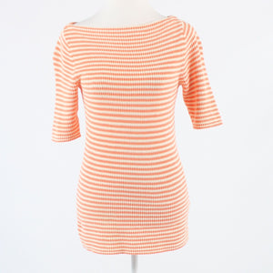 Peach cream striped 100% cotton LAUREN RALPH LAUREN boat neck sweater M