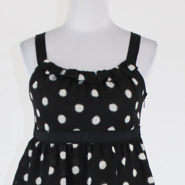 Black white polka dot ANN TAYLOR LOFT PETITES tiered sleeveless dress 4P
