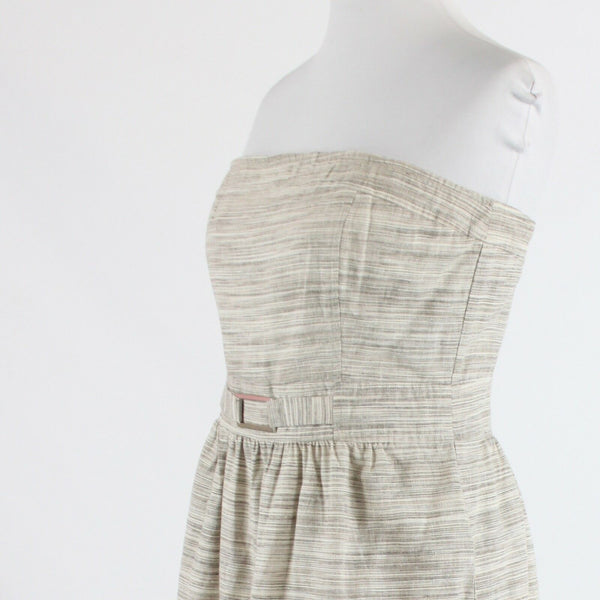 Taupe ivory striped linen blend BANANA REPUBLIC strapless A-line dress 8