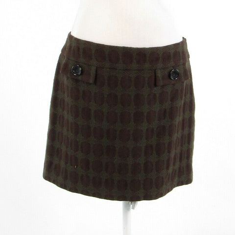 Brown green geometric wool blend MICHAEL KORS A-line skirt 10-Newish