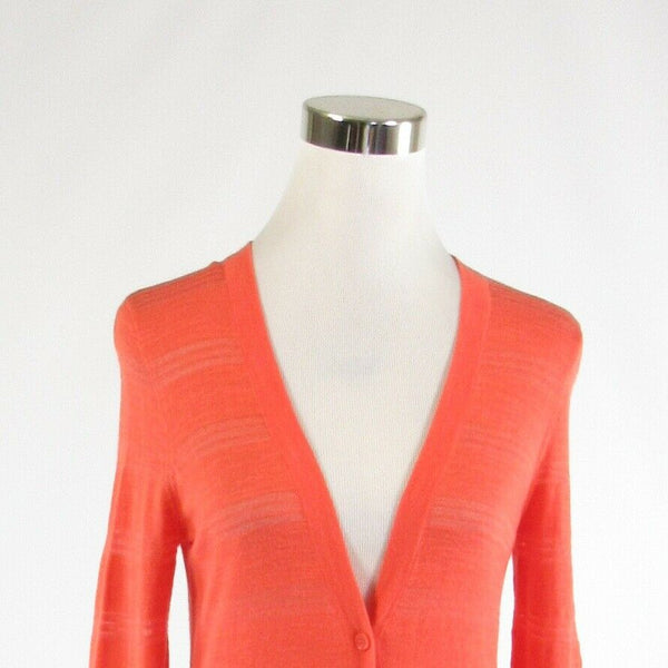 Coral orange cotton blend ANN TAYLOR LOFT 3/4 sleeve cardigan sweater S