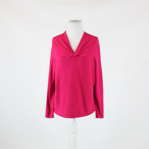 Bright pink LANE BRYANT long sleeve twisted neckline v-neck sweater 14 16