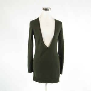 Dark olive green ANN TAYLOR LOFT long sleeve V-neck sweater XS-Newish