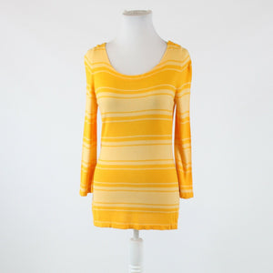 Orange and peach striped BANANA REPUBLIC 3/4 sleeve scoop neck sweater M
