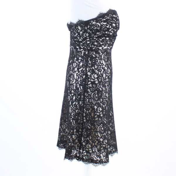 Black ivory paisley lace WHITE HOUSE BLACK MARKET strapless A-line dress 0