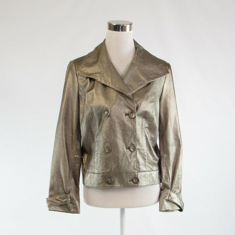 Metallic gold 100% leather SPIEGEL shimmery long sleeve jacket 10