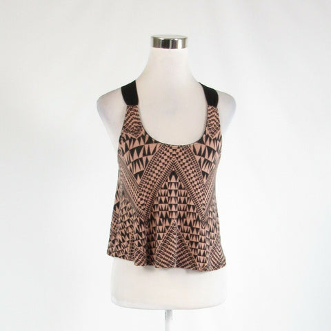 Khaki black geometric SOCIETY GIRL stretch sleeveless crop top blouse M