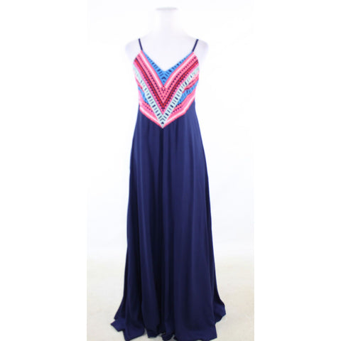 Navy blue MARA HOFFMAN embroidered top maxi dress S