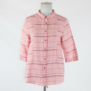 Red white and blue plaid 100% cotton ZAAL 3/4 sleeve button down shirt S-Newish