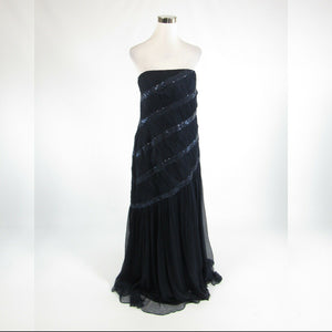 Navy blue 100% silk TADASHI COLLECTION sequin trim strapless ball gown dress 16