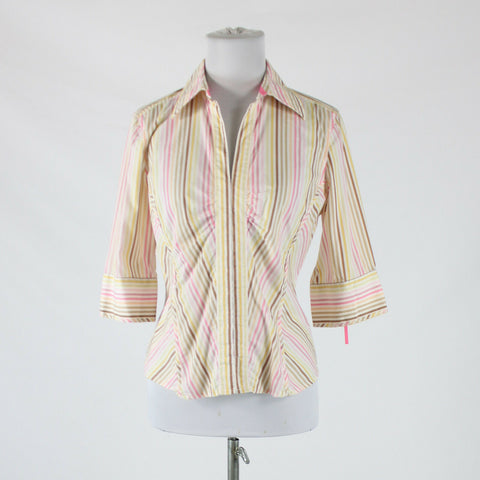 Pink yellow brown striped cotton THE LIMITED 3/4 sleeve collared blouse M