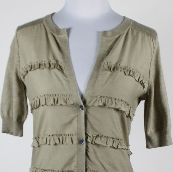 BANANA REPUBLIC beige cotton silk short sleeve tiered front cardigan sweater XS-Newish