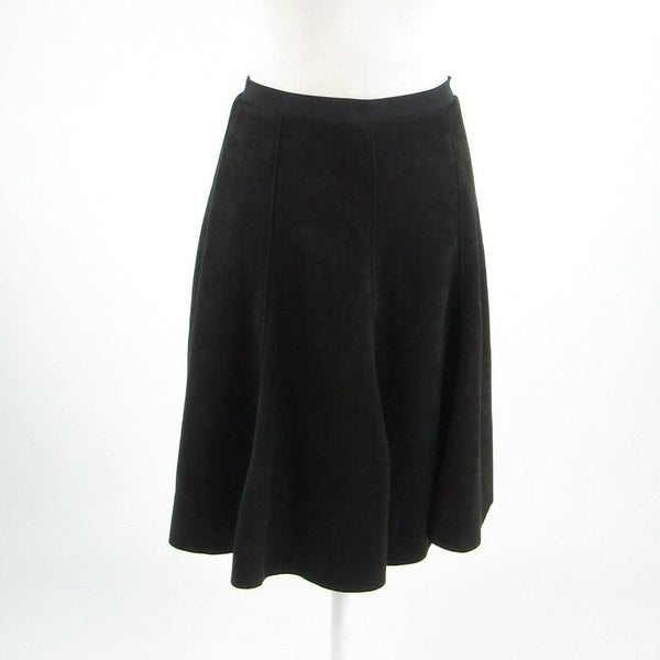 Black faux suede SIONI stretch A-line skirt M