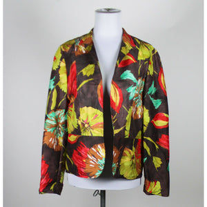 COLDWATER CREEK brown green red floral 100% silk lightweight open front jacket S-Newish