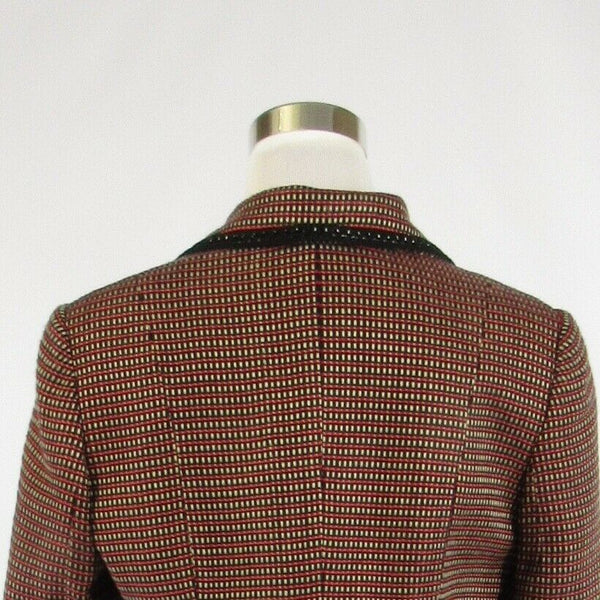 Red white plaid PERRY ELLIS long sleeve jacket 8-Newish