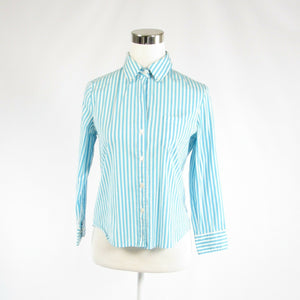 Turquoise blue white pinstripe cotton blend THEORY button down blouse M