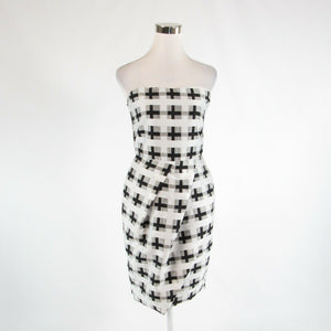 White black geometric cotton blend HUNTER BELL bodycon dress 6-Newish