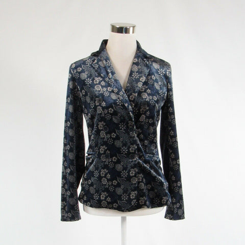 Navy blue beige floral print CAROLINA BELLE long sleeve blazer jacket XS-Newish