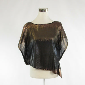 Light brown black VINCE CAMUTO sequin short sleeve blouse XS