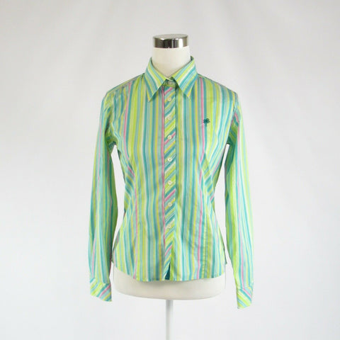 Light green yellow uneven striped LILLY PULITZER button down blouse 4-Newish