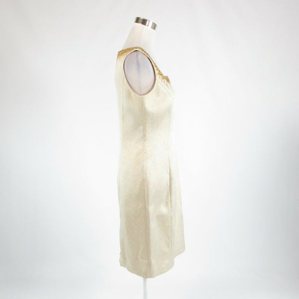 Light beige gold KAY UNGER embroidered trim beaded sleeveless sheath dress 6